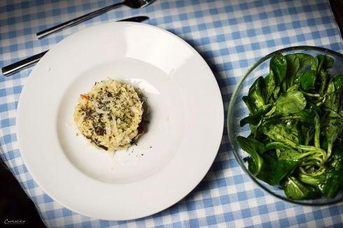Eierschwammerlrisotto mit grünem Salat